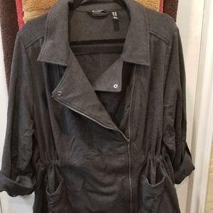 Stylish Charcoal Grey knit drawstring moto jacket